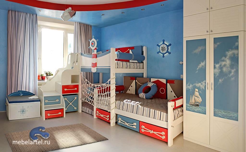 Морские приключения - индивидуальный проект детской комнаты.
