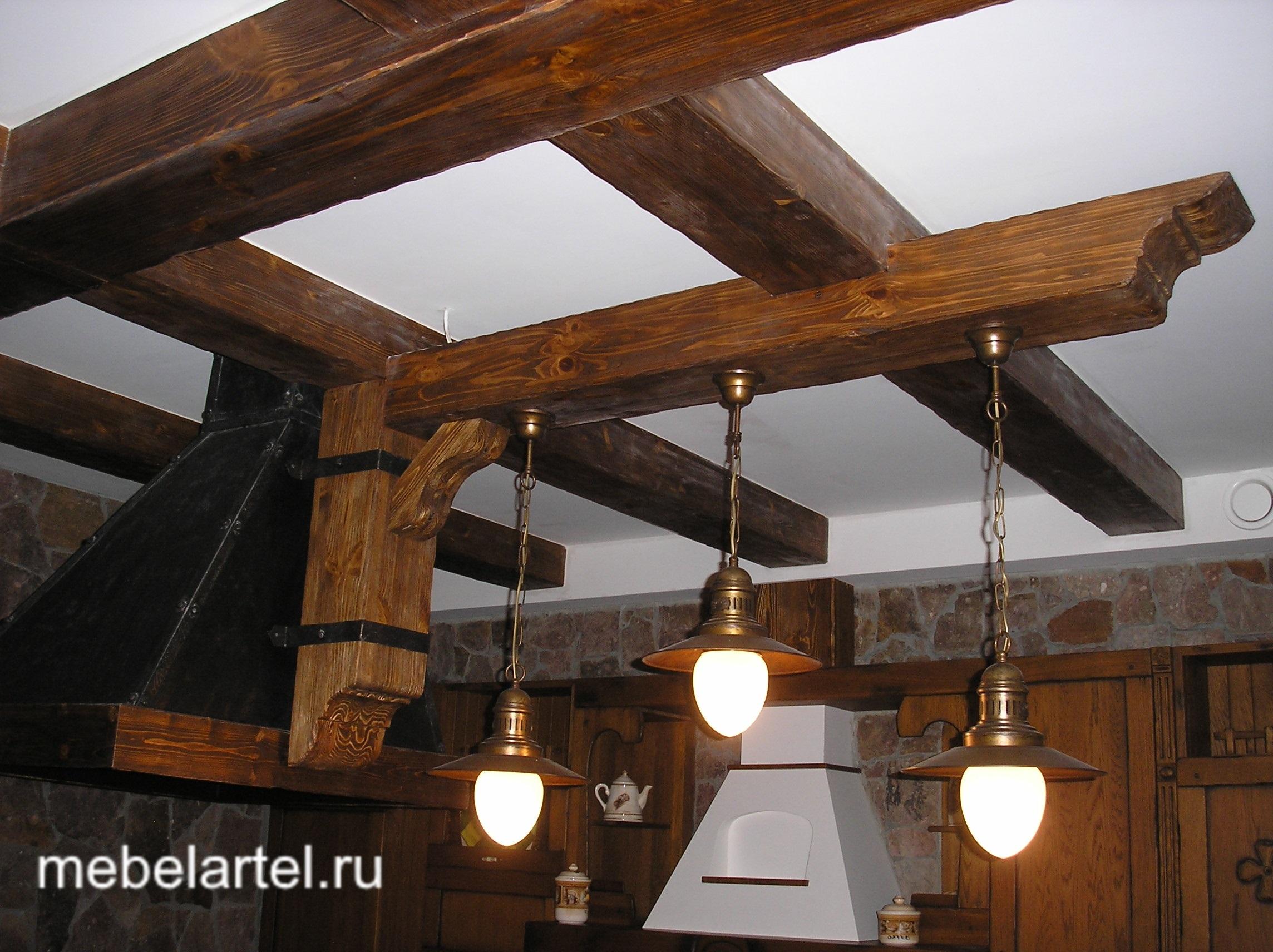 Потолок с балками своими руками фото