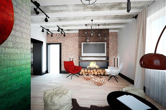 гостиная в стиле лофт из дерева